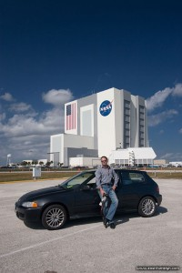 Sean Tamblyn and the VAB Building, Kennedy Space Centre, Florida