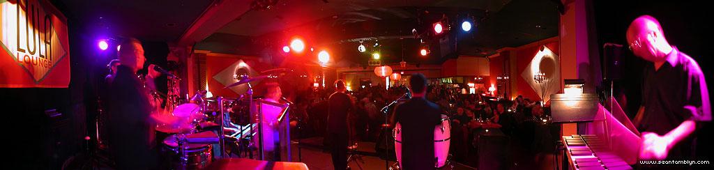 Panorama of Caché onstage, Lula Lounge, Toronto