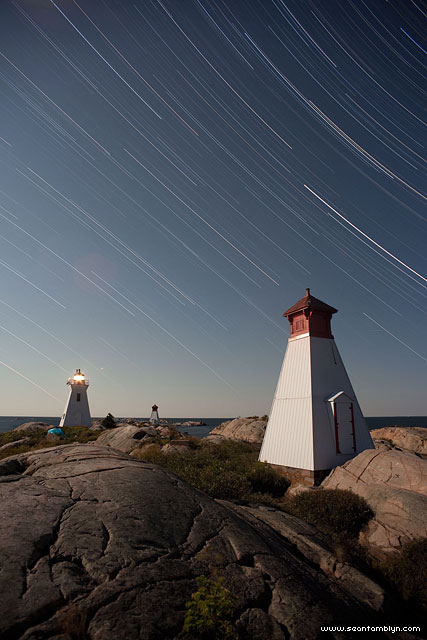 Bustard Islands lighthouse star trails, Bustard Islands, Georgian Bay