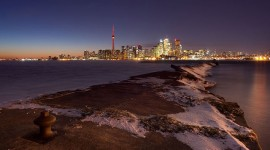 Toronto skyline and crumbling eastern gap, Ward's Island, Toronto Islands