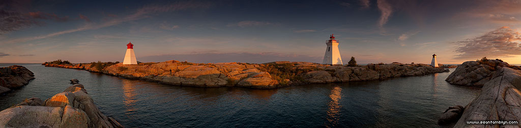 Lighthouse and twin ranges panorama, Bustard Islands, Georgian Bay