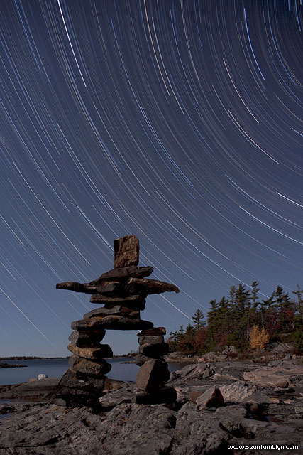 Inukshuk star trails, Sans Souci, Georgian Bay