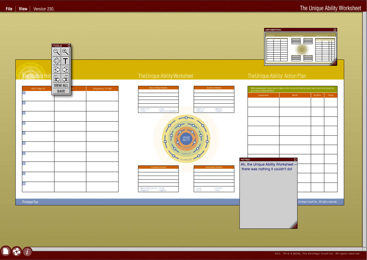 Strategic Coach UAW Interface, Sean Tamblyn visual application development