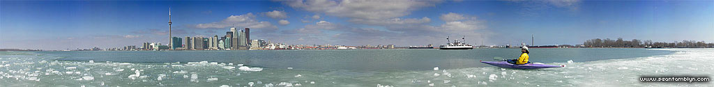 Kayaking in ice panorama, Inner harbour, Toronto Islands