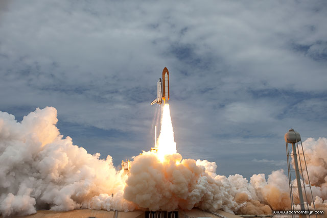 STS-135 final launch of space shuttle Atlantis from remote launch pad camera