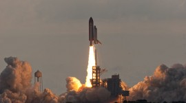 STS-134 final launch of space shuttle Endeavour clears the tower LC-39A