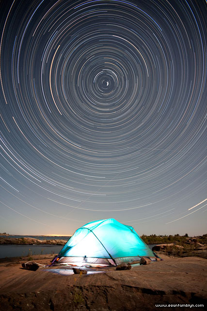 Star trails over the Churchill Islands, Georgian Bay