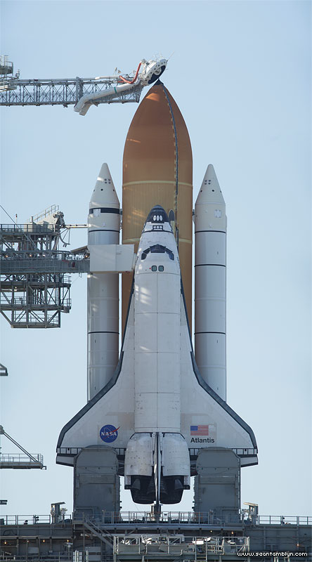 STS-132 space shuttle Atlantis on the launch pad after RSS rollback