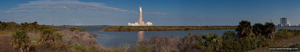STS-133 final launch of space shuttle Discovery panorama
