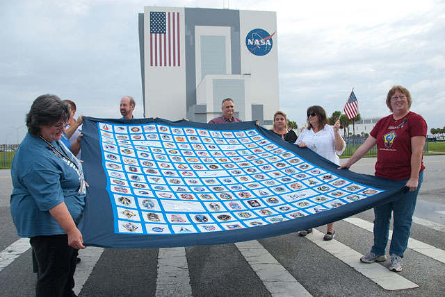 Quilt of all space shuttle mission patches, Kennedy Space Centre, Florida