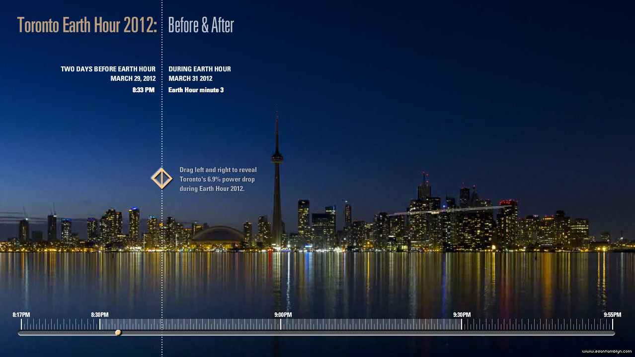 Toronto Earth Hour 2012 Before & After screenshot, Visual Application Development