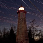 Venus and Jupiter conjunction 2012 and aircraft trails over Gibraltar Point Lighthouse, Toronto Islands