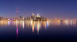 Toronto at dusk skyline panorama