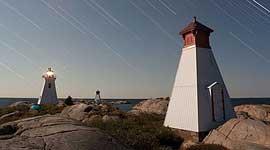 Bustard Islands lighthouse star trails, Bustard Islands, Georgian Bay