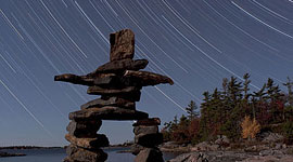 Inukshuk star trails, Sans Souci, Georgian Bay