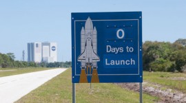 Zero days to launch sign in front of the VAB, final launch of space shuttle Endeavour, STS-134