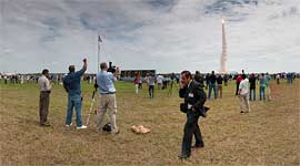 KSC press site panorama, final launch of space shuttle Atlantis, STS-135